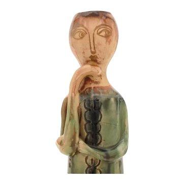 """Vila Clara Hand Made Spain Art Pottery Candlestick Holder 10.75"""" Tall"""