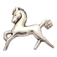 1940s Sterling Mexico Stylized Prancing Horse Pin 1.5""