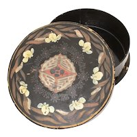 """Japanese Lacquer Round Box Hand Painted Flowers & Butterflies 6.4 x 2"""""""