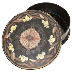 Japanese Lacquer Round Box Hand Painted Flowers & Butterflies 6.4 x 2""