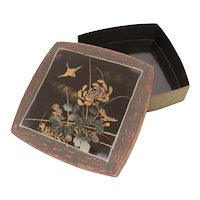 Japanese Lacquer Box Faux Bois, Bird & Flowers 7.5 x 7.5 x 2""