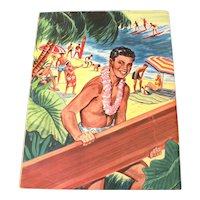 1950s Pre-Statehood HAWAII, A Book to Color Coloring Book by Saalfield, Large Format 14 x 11""
