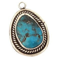 Navajo Sterling Turquoise Pendant 1.5 x 1""