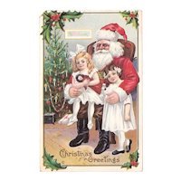 1912 Christmas Postcard Antique Santa Claus Chromolithograph