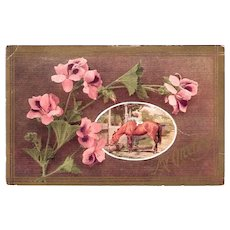 Antique 1911 MY GREETING Postcard Girl on Horse & Pink Alstroemeria Peruvian Lily
