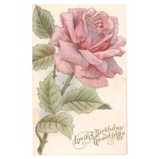 Antique Pink Rose Postcard Loving Birthday