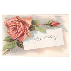1910 Postcard Pink Rose & Birthday Note