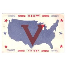1941 Patriotic V for Victory WWII Postcard, Morse Code, San Antonio Postcard Co.