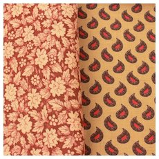 Vintage Cotton Quilting Fabric 2 Patterns, Maroon Flowers, Tan Red & Brown Paisley, Small Tight Designs