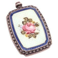 "Antique Sterling Perfume Bottle Guilloche Enamel Pink Rose, Miniature 1.9 x 1.25"""