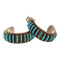 Zuni Sterling Petite Point Turquoise Pierced Half Hoop Earrings Signed DL Bellson