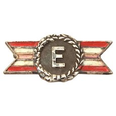 WWII Army Navy Production Efficiency Award, Sterling Enamel E Pin