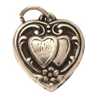 1940s Sterling Puffy Heart Charm Engraved Initials MW