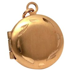 "Miniature Gold Filled Locket, Doll Jewelry 1/2"" by Walter E. Hayward"