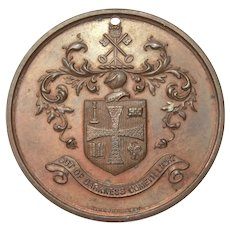 Bronze Perfect Attendance Award Medal, Wolverhampton England, Coat of Arms, Town Crest