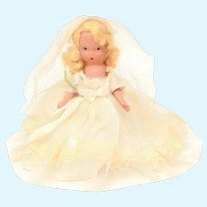 "Nancy Ann Storybook Doll Blonde Bride in Wedding Gown & Veil, ""Bisque"" Jointed Arms, Frozen Legs"