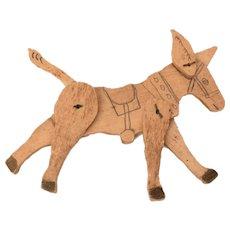 Folk Art Toy Wood Donkey, Jointed Poseable