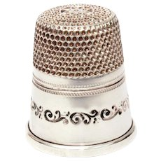 Sterling Thimble Curly Cues & Dots, Unused with Made in West Germany Sticker