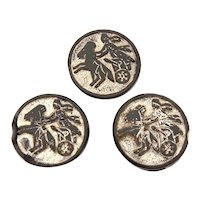 3 Antique Sewing Buttons, Roman Gladiator Horse Drawn Carriage, Black Glass with Silver Luster