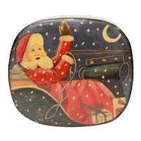 Christmas Trinket Box, Lacquer Paper Mache Santa Claus in Sleigh