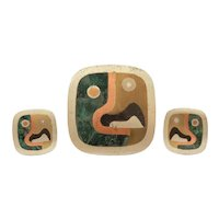 Los Castillo Cubist Parrot Pin / Pendant & Earrings, Mixed Metal & Stone Inlay