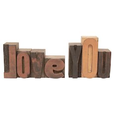 LOVE YOU Letterpress Letters, Carved Wood Printing Press Type, Printing Blocks, Rustic Valentine