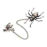 Sterling Spider & Fly Pin Set, Chatelaine Style Brooches