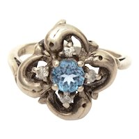 Sterling Dolphin Ring, Swimming Around Blue Spinel, Size 6 1/4