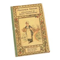 Kate Greenaway Book Mother Goose or the Old Nursery Rhymes, Small Antique Illustrated Hardback