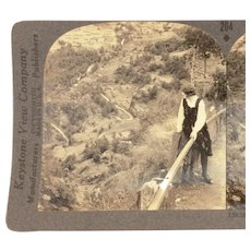 Keystone Stereoview Woman Overlooking Grjotlid Road Gelranger Fjord in Norway