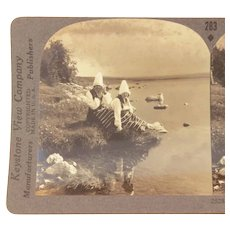 Stereoview Classic Swedish Rattvik Costumes, Lake Siljan Dalecarlia, Sweden