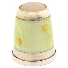 FOR LAURA - Sterling Pale Yellow Guilloche Enamel Thimble with Gold Stars, Germany Size 8