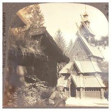 Keystone Stereoview Card Medieval Wooden Church, Little Stave Church of Gol Norway