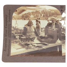 Keystone Stereoview Card of Outdoor Fish Market in Fredrikstad Norway, Fish Wife