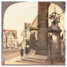 Keystone Stereoview Card Rathaus Platz Bremen Germany with Statue of Roland