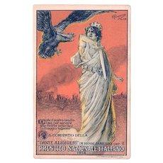 1918 Presitito Nazionale Italiano Postcard Italian National War Bond Loan Program with Double Headed Reichsadler Eagle