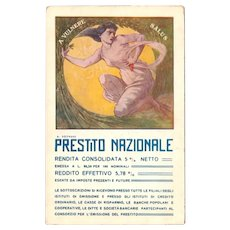circa 1918 Prestito Nazionale Postcard, Italian National War Bond or Loan Program