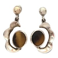Mexico Sterling & Tiger Eye Screw Back Earrings with Pineda Sticker