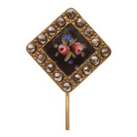 Antique Stickpin Black Enamel with Pink Roses, Large Marcasites
