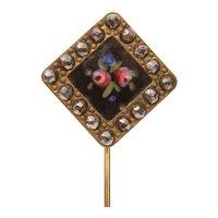 PInk Roses on Black Enamel Stickpin with Large Marcasites
