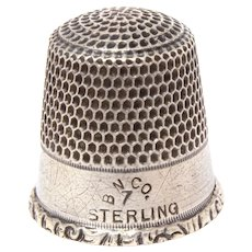 Rare Sterling Thimble from BN Co, Baird North of Rhode Island, Small Almost Child Size 7