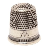Antique Sterling Silver Thimble, Size 9,  Simple Design of Plain Band and Vertical Lines