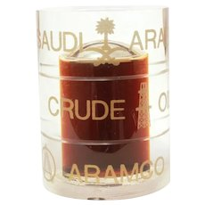 Saudi Arabian Crude Oil Aramco Plastic Oil Barrel Advertising Paperweight Filled with Genuine Saudi Oil