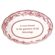 """Spode Mementos Porcelain Trinket Dish """"A true friend is the greatest of all blessings"""""""
