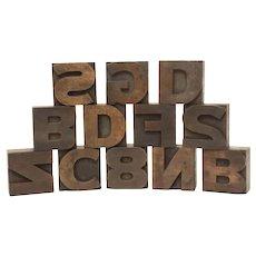 "Set 12 Wood Letterpress Printing Blocks 1 3/4"" Alphabet & Numbers"