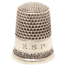 Antique Sterling Simons Thimble KSP Monogram, Curling Wave Design, Size 10