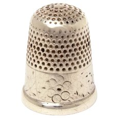 Antique Dated 1875 Sterling Thimble by Tice, Size 7