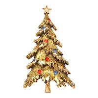 ART Christmas Tree Pin Textured Gold Tone Enamel Snow & Multi-Color Rhinestones