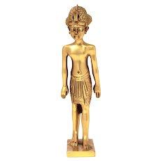 "MMA 1989 King Tut Egyptian Sculpture, Egypt Tutankhamun, 24k Gold Plated Pewter 3 5/8"""