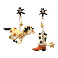 Lunch at the Ritz Rodeo Snack Pierced Earrings, Horse & Cowboy Boot